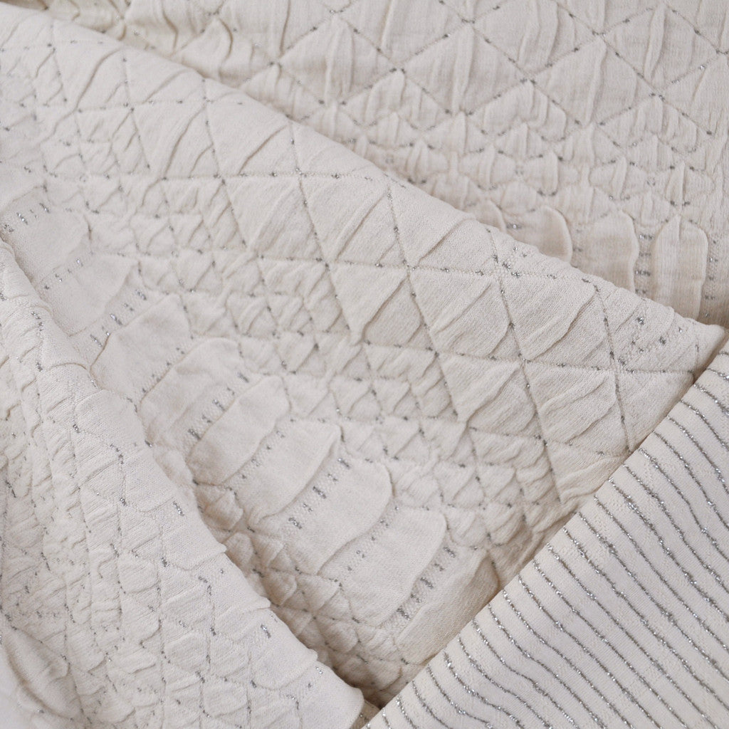 Quilt Stitch Texture Double Knit Cream/Silver SY - Sold Out - Style Maker Fabrics
