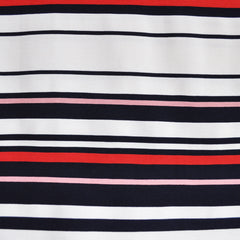 Nautical Stripe Rib Texture Ponte Knit Navy/Red/White - Sold Out - Style Maker Fabrics