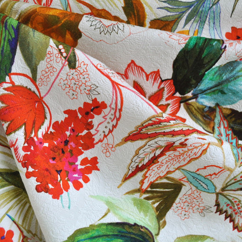 Tropical Print Stretch Cotton Jacquard Cream/Coral - Sold Out - Style Maker Fabrics