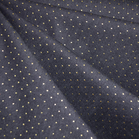 Metallic Dot Stretch Denim Navy with Gold SY