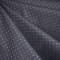Metallic Dot Stretch Denim Navy/Gold - Sold Out - Style Maker Fabrics