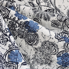 Block Print Floral Linen Indigo/Ivory SY - Sold Out - Style Maker Fabrics