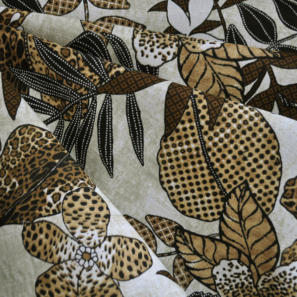 Animal Print Tropical Floral Linen Neutrals - Sold Out - Style Maker Fabrics