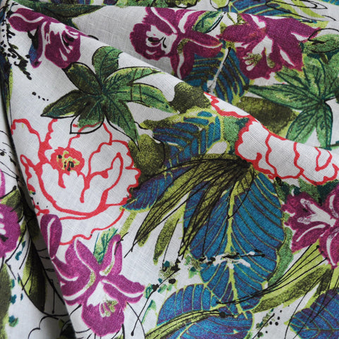 Bold Tropical Floral Print Linen Green/Fuchsia SY