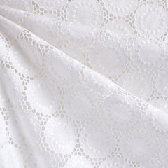 Embroidered Medallion Eyelet Shirting White - Sold Out - Style Maker Fabrics