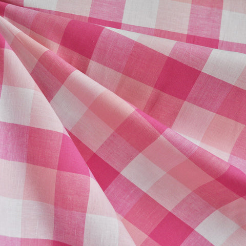 Large Plaid Check Shirting Pink/White