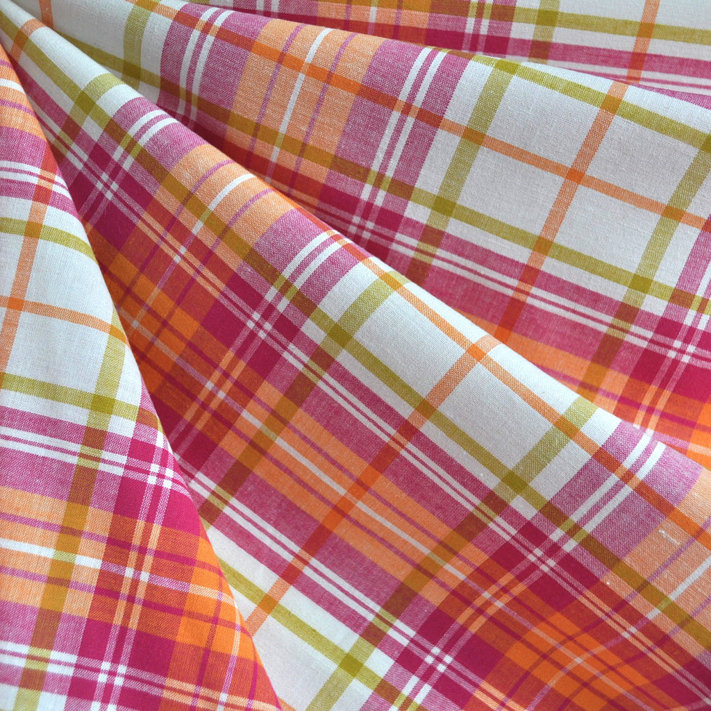 Spring Plaid Stretch Shirting Pink/Orange SY - Sold Out - Style Maker Fabrics