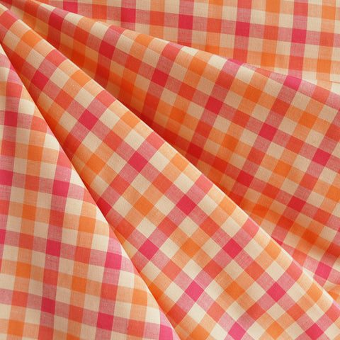 Check Plaid Stretch Shirting Pink/Orange