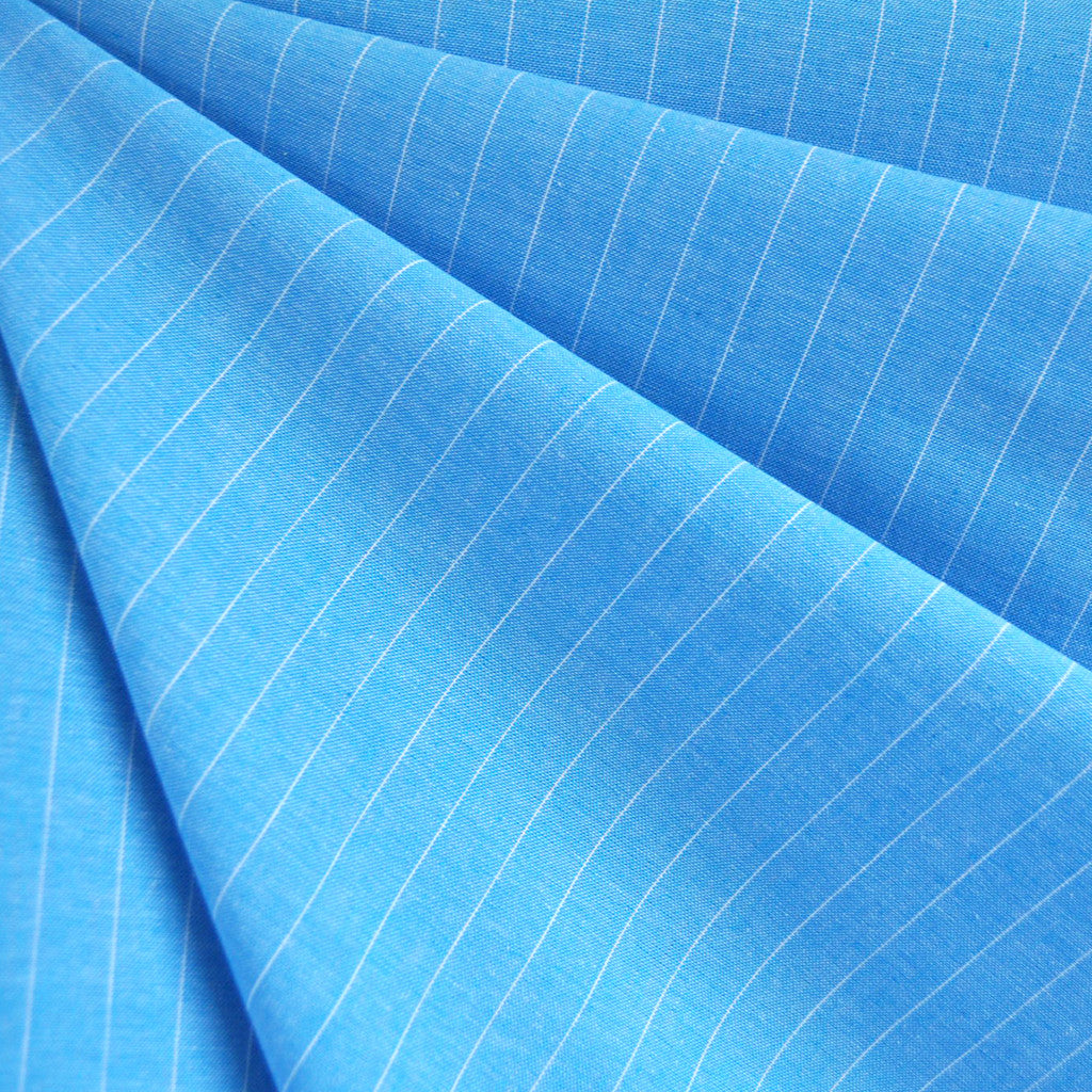Oxford Shirting Pin Stripe Turquoise - Fabric - Style Maker Fabrics