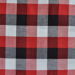 Large Check Gingham Shirting Red/Black - Fabric - Style Maker Fabrics