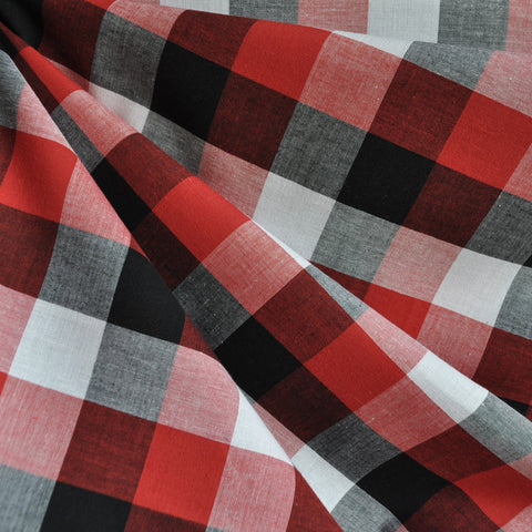 Large Check Gingham Shirting Red/Black