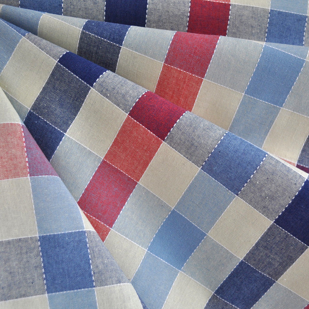 Stitched Plaid Check Shirting Cream/Blue SY - Selvage Yard - Style Maker Fabrics
