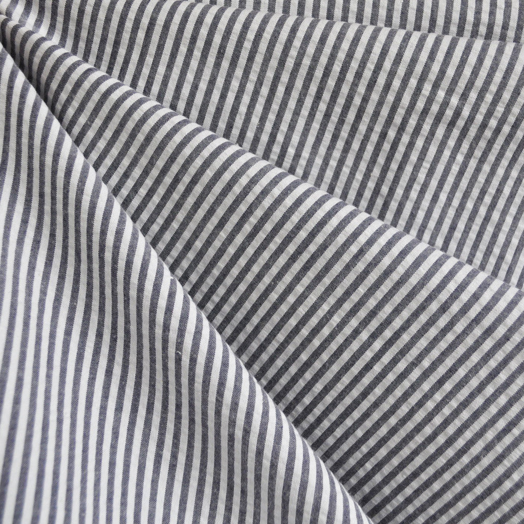 Seersucker Stripe Shirting Charcoal - Fabric - Style Maker Fabrics