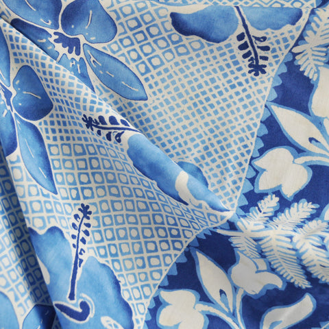 Vintage Double Border Tropical Print Rayon Challis Blue