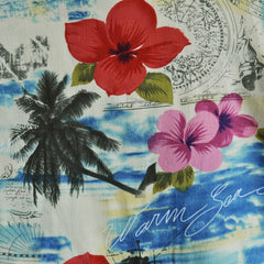 Tropical Scenic Rayon Challis Cream SY - Selvage Yard - Style Maker Fabrics