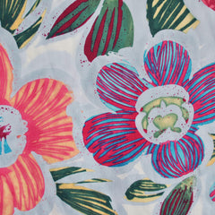 Vintage Tropical Floral Print Rayon Challis Blue SY - Sold Out - Style Maker Fabrics