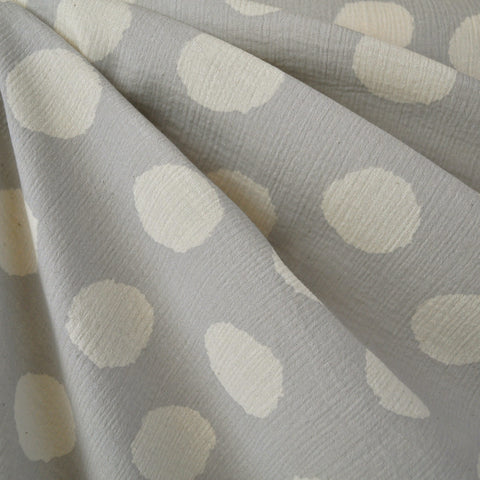 Japanese Crepe Double Gauze Dot Grey/Cream