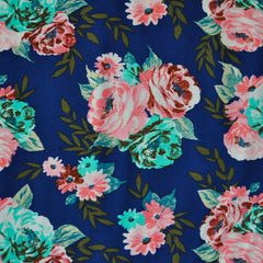 Garden Bouquet Rayon Challis Navy/Coral - Fabric - Style Maker Fabrics