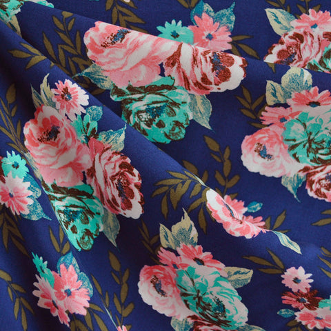 Garden Bouquet Rayon Challis Navy/Coral SY