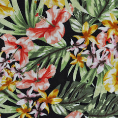 Paradise Floral Rayon Challis Green/Coral SY - Sold Out - Style Maker Fabrics