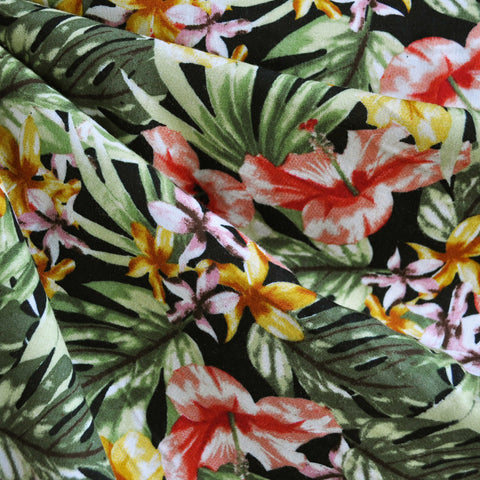 Paradise Floral Rayon Challis Green/Coral SY