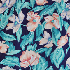 Magnolia Blossom Rayon Challis Navy/Teal - Sold Out - Style Maker Fabrics