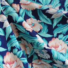 Magnolia Blossom Rayon Challis Navy SY - Sold Out - Style Maker Fabrics