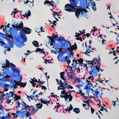 Texture Double Knit Floral Bouquet Blue/Pink - Fabric - Style Maker Fabrics