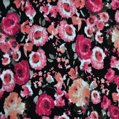 Texture Double Knit Floral Fuchsia/Black SY - Sold Out - Style Maker Fabrics