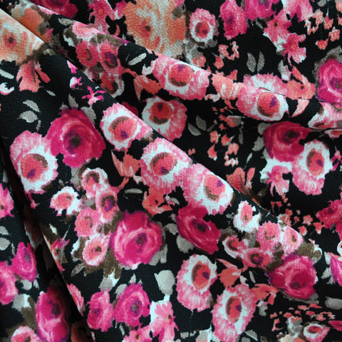 Texture Double Knit Floral Fuchsia/Black