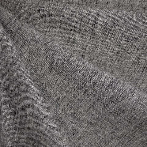 Washed Chambray Linen Blend Shirting Black