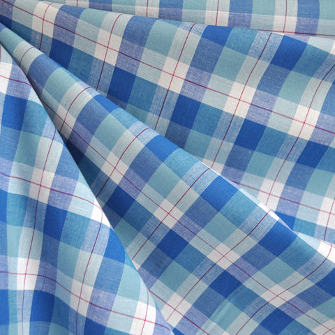 Plaid Stretch Shirting Blue