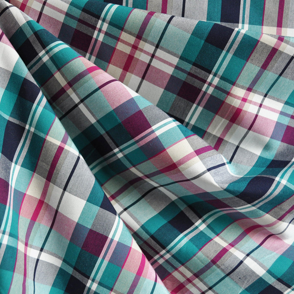 Madras Plaid Shirting Teal/Plum - Sold Out - Style Maker Fabrics
