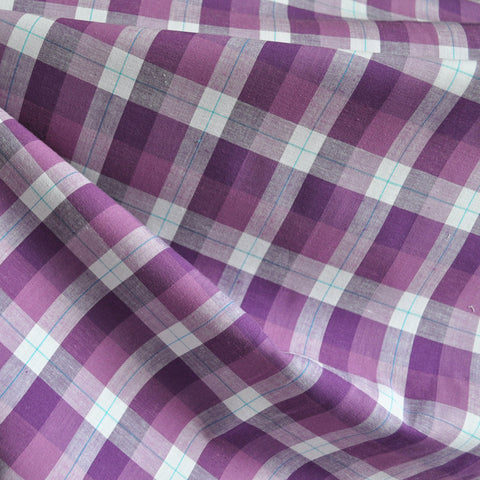 Plaid Stretch Shirting Aubergine/White