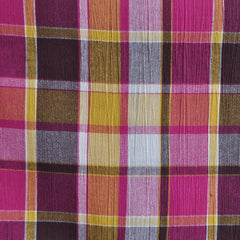Bubble Gauze Plaid Fuchsia/Multi SY - Sold Out - Style Maker Fabrics