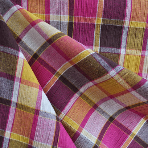 Bubble Gauze Plaid Fuchsia/Multi