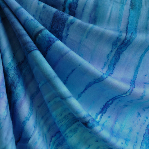 Hand Dyed Rayon Challis Ocean