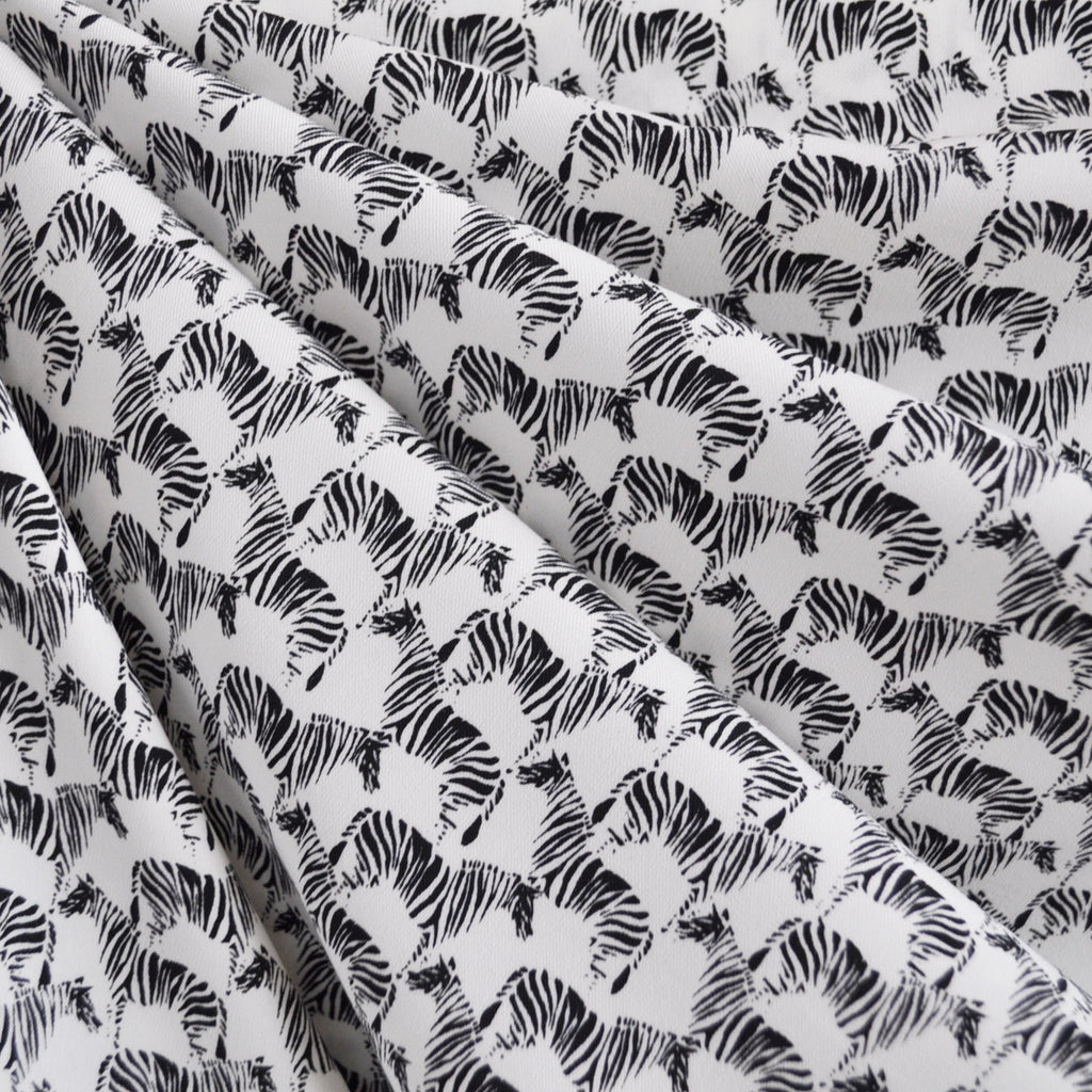 Zebra Dazzle Twill Weave Rayon White - Sold Out - Style Maker Fabrics