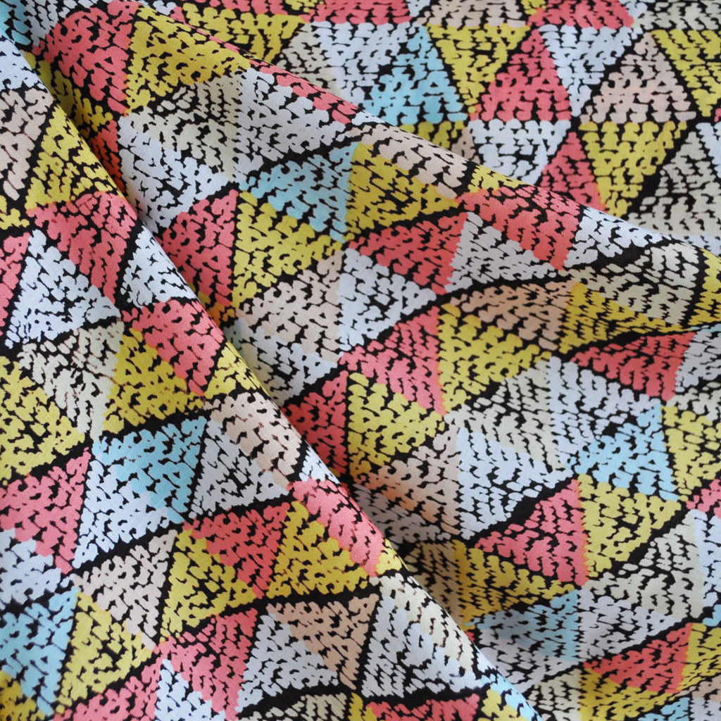 Pixel Triangles Rayon Challis Spring - Sold Out - Style Maker Fabrics