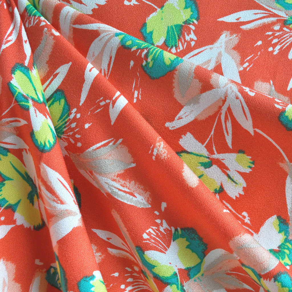 Rayon Crepe Floral Orange Sherbert - Fabric - Style Maker Fabrics
