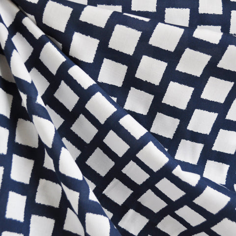 Abstract Grid Rayon Challis Navy/White