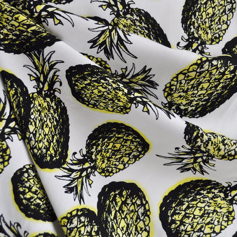 Pineapple Print Rayon Challis Ivory/Yellow