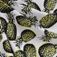 Pineapple Paradise Rayon Challis Ivory/Yellow - Sold Out - Style Maker Fabrics
