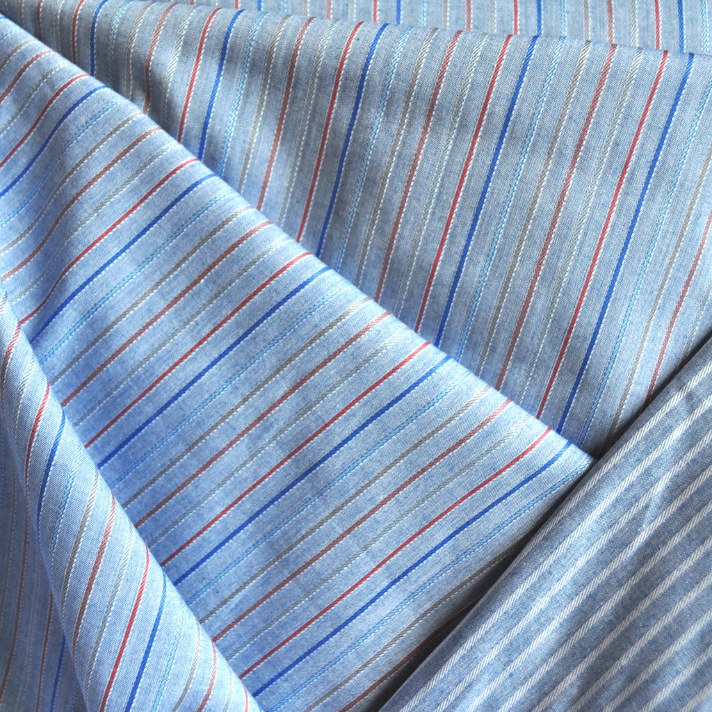 Reversible Stripe Shirting Blue/White/Red - Sold Out - Style Maker Fabrics