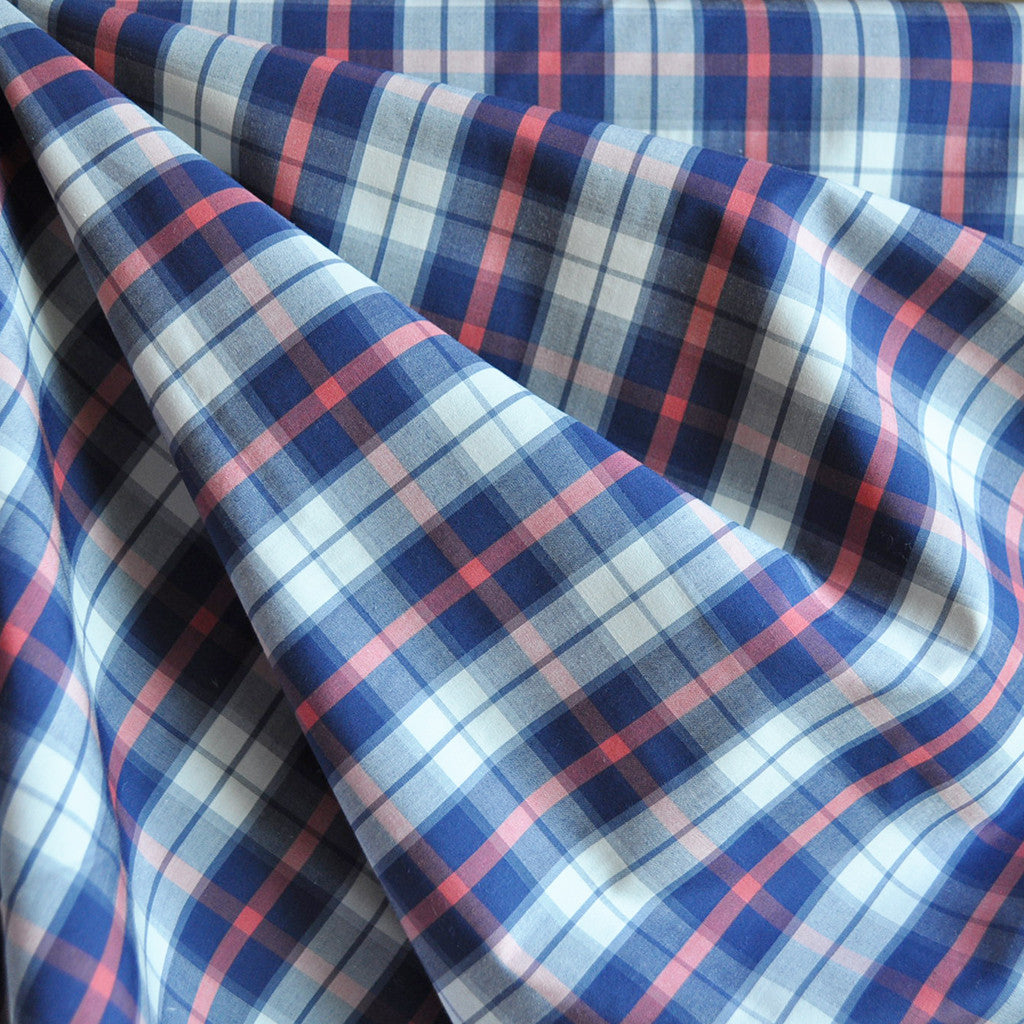 Summer Plaid Cotton Shirting Navy/Coral SY - Sold Out - Style Maker Fabrics