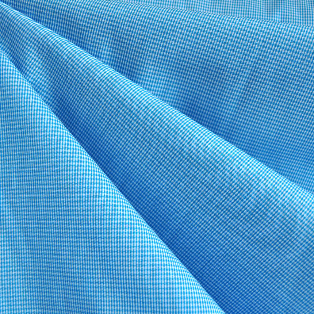 Mini Gingham Shirting Aqua/White - Sold Out - Style Maker Fabrics