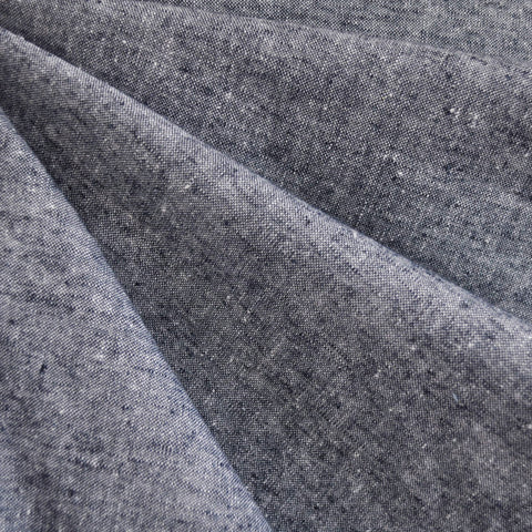 Textured Chambray Linen Blend Navy/White
