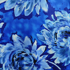 Giant Watercolor Floral Stretch Sateen Blue SY - Sold Out - Style Maker Fabrics