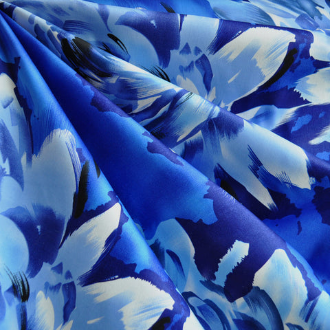 Giant Watercolor Floral Stretch Sateen Blue