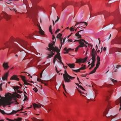 Giant Watercolor Floral Stretch Sateen Red - Sold Out - Style Maker Fabrics